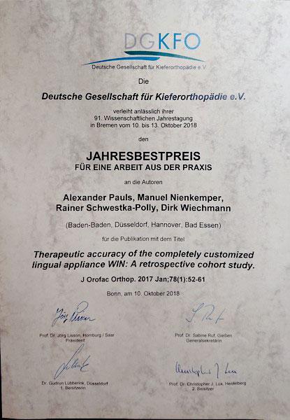 Jahresbestpreis der Deutschen Gesellschaft für Kieferorthopädie